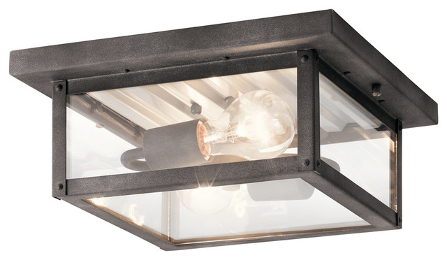 Outdoor Ceiling 2-Light By Kichler, Black Finish.
