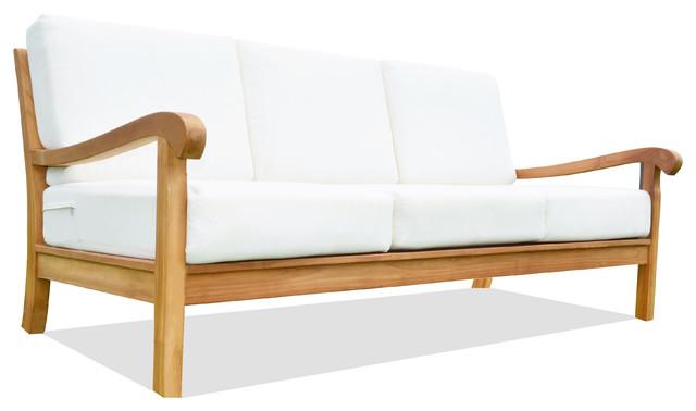 Nain Large Lounge Sofa With Canvas Teak Sunbrella Fabric Cushion