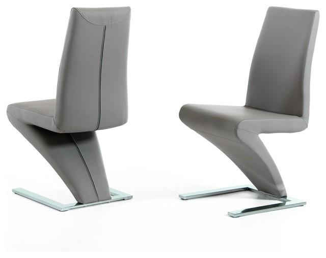 Modrest Zayd Modern Gray Dining Chair, Set Of 2.