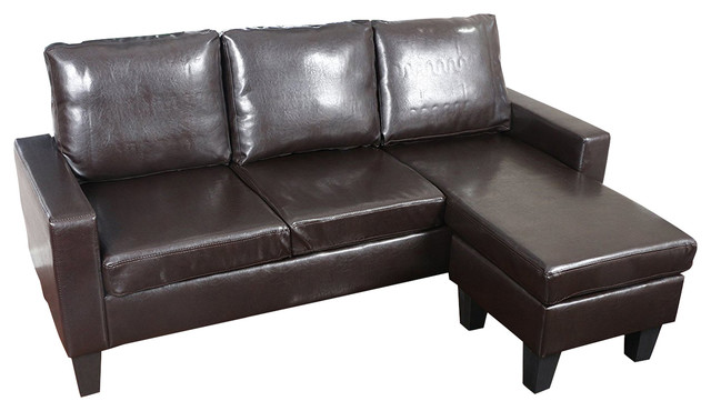 Large Brown Leather Modern Sectional Sofa Transitional Sectional Sofas