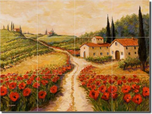 Ceramic Tile Mural Backsplash Morris Tuscan Landscape - Contemporary ...