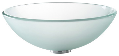 """Frosted Glass Vessel Bathroom Sink With Pop-Up, Chrome, 14"""""""