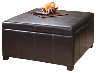 GDFStudio   Berkeley Espresso Leather Storage Ottoman Coffee Table    Footstools And Ottomans