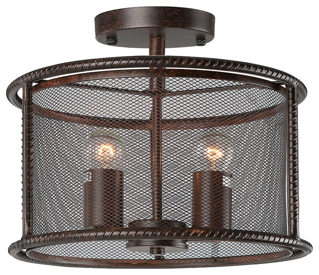 2 Light Vintage Pendant Lamp With Metal Mesh Shades Aged