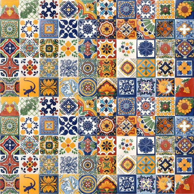 """4""""x4"""" Assorted Mexican Ceramic Handmade Designed Tiles, 100-Piece Set."""