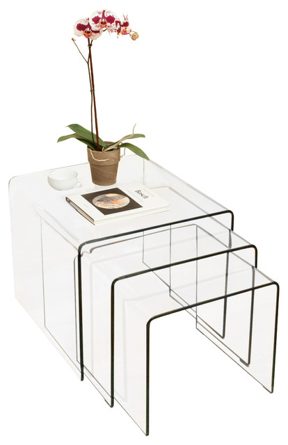 GDFStudio Charlize Glass Coffee Tables 3Piece SetSide Tables