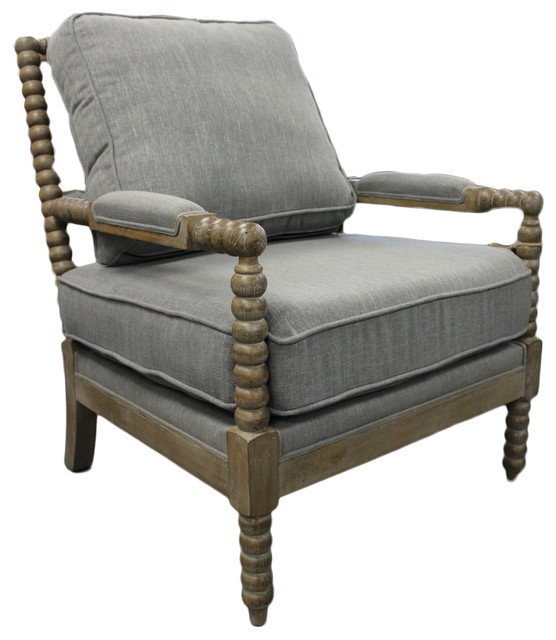 twisted arm occasional chair gray