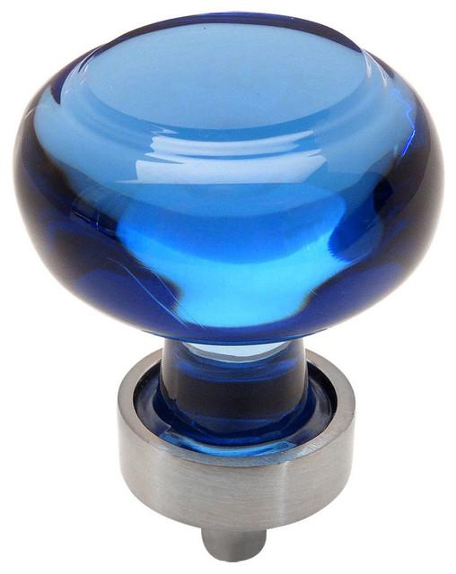 Cosmas 6355sn Satin Nickel And Gl Round Cabinet Blue