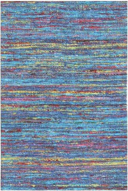 Madisons Turquoise Blue Sari Silk Area Rug, Blue, 4u0027x6u0027, Woven