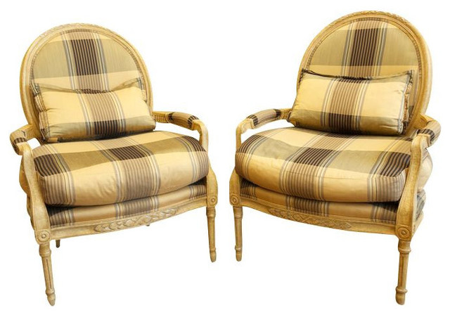 Marge Carson Plaid Louis Chairs in Black and Gold 6540 Est – Carson Chair