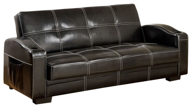 Contemporary Black Sofa Futon Converts Into Bed With Storage Side Pockets  Futons