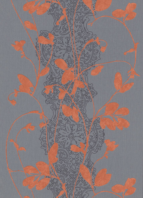 Modern Non-Woven Floral Wallpaper For Accent Wall - Orange Sceno Wallpaper, Roll. -1