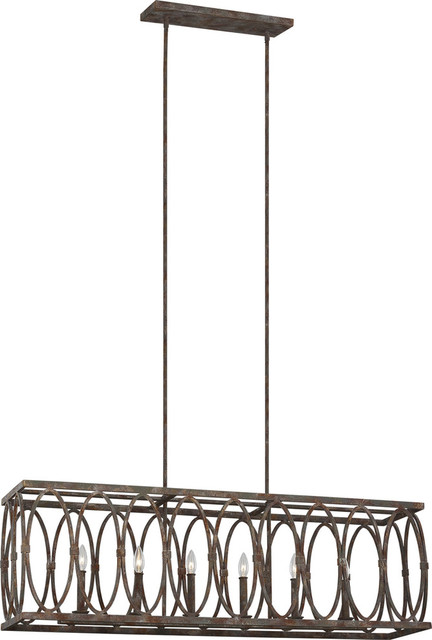 Patrice 6-Light Linear Chandelier, Deep Abyss.