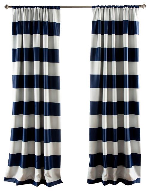Stripe Blackout Navy Window Curtain.