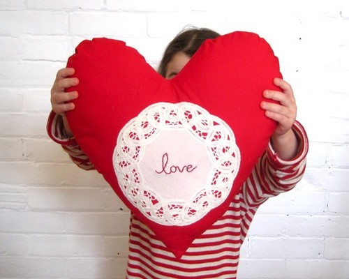 Heart Pillow Cushion Red Love by Sewn Natural modern holiday decorations