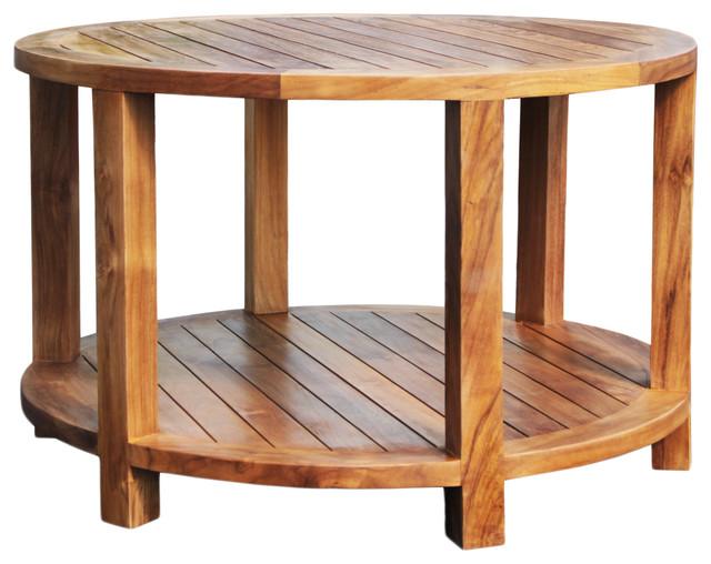 Teak Wood Bahama Round Coffee Table, Round Teak Coffee Table