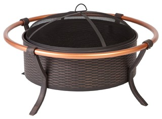 "37"" Antique Bronze Painted Steel Fire Pit with Copper Rail"
