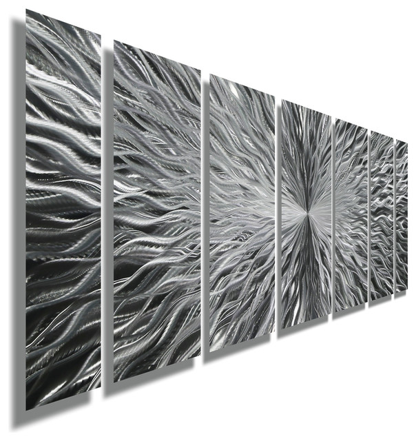 Silver Abstract Metal Wall Art Sculpture By Jon Allen Vortex