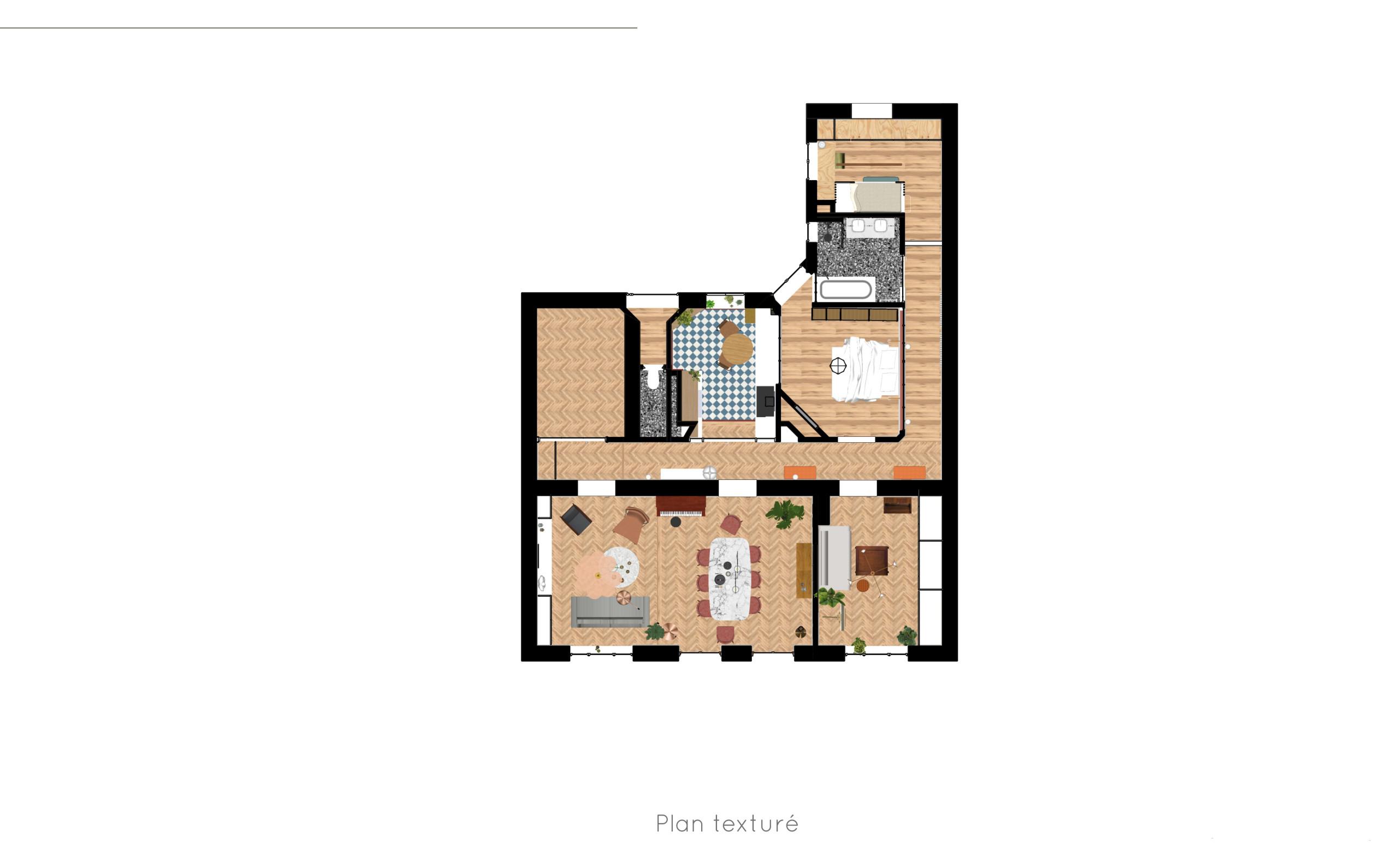 Option 2 - Appartement C - Plan texturé