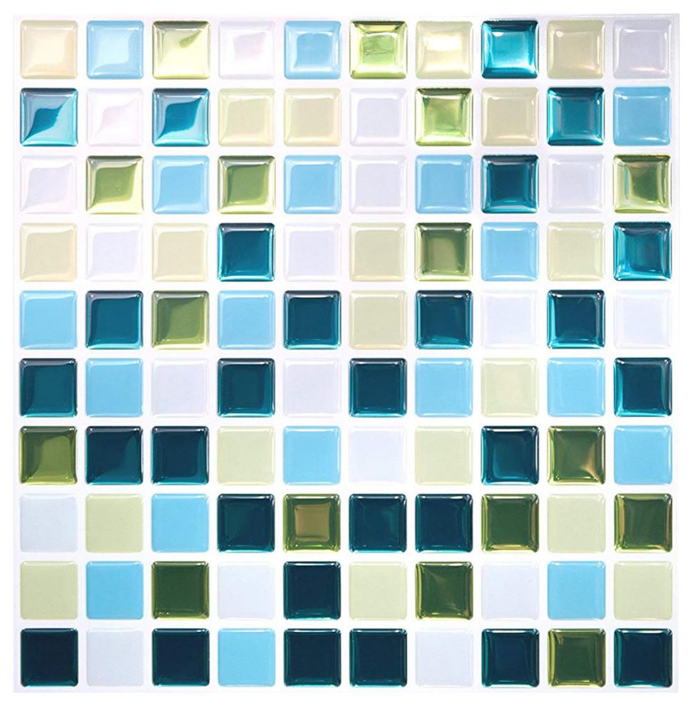 Tic Tac Tiles Anti-Mold Peel and Stick Wall Tile in Vetro Aqua 10 Tiles