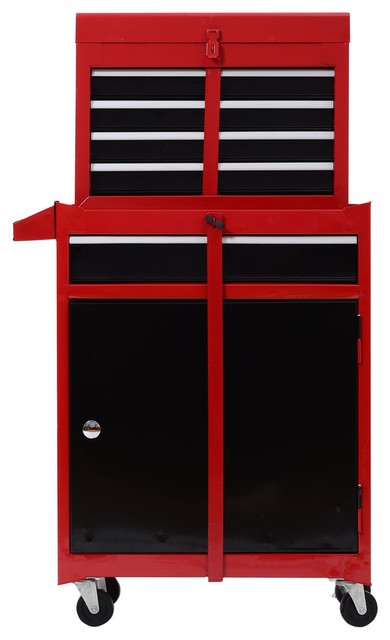 rolling tool cabinet chest w5 drawers and removable tool box red and black