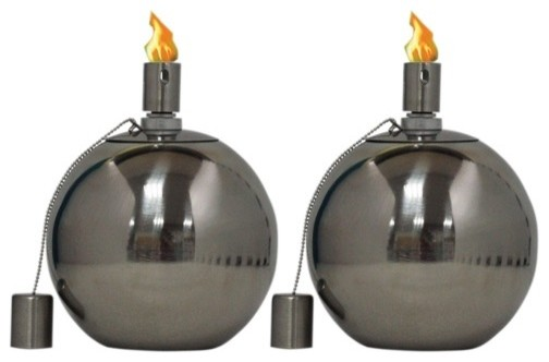 Stainless Round Tabletop Torches, Set of 2