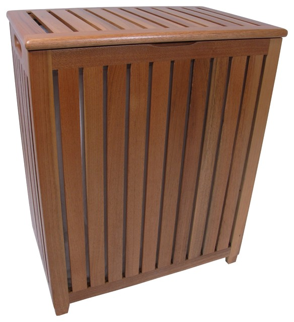 Teak Covered Hamper With Laundry Bag Traditional