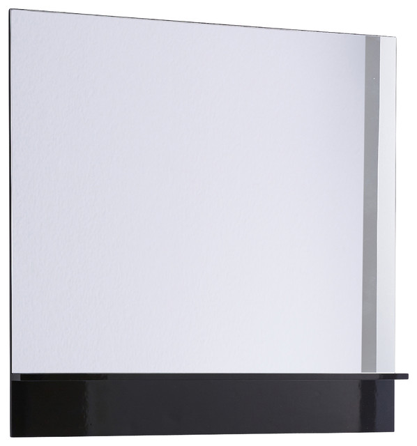 Roma 40 Mirror With Shelf Black Gloss Contemporary Bathroom Mirrors