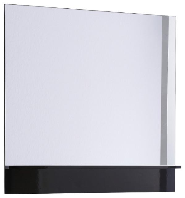 Roma 40 Mirror With Shelf Black Gloss Contemporary Bathroom