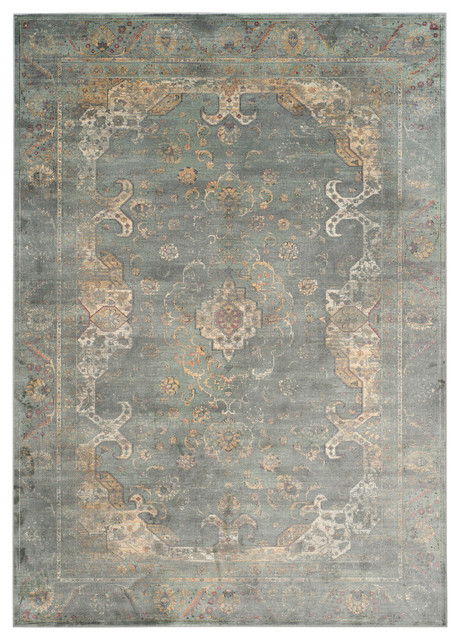 "Safavieh Cholet Vintage-Inspired Rug, Gray And Multi, 6&x27;7""x9&x27;2""."