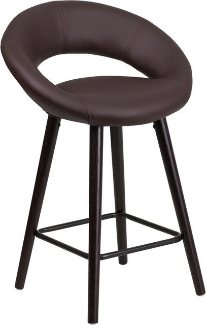 Estella Lexi Rounded Low Back 24 Cappuccino Wood Counter Stool