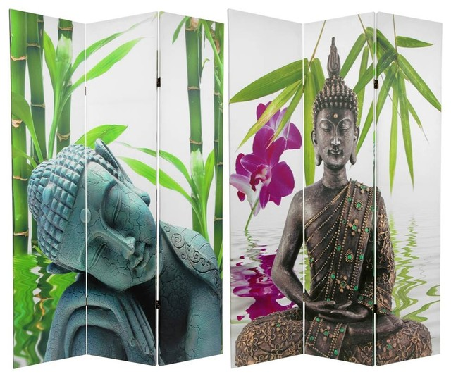 Double Sided Serenity Buddha Room Divider Asian Screens And Room