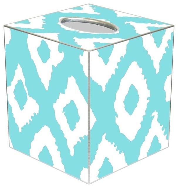 Tb2822 Grande Ikat Aqua Tissue Box Cover