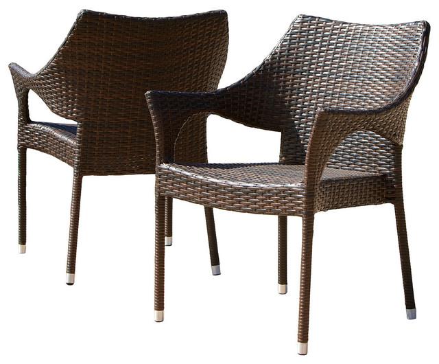 Gdf Studio Del Mar Outdoor Brown Wicker Chairs Set Of 2