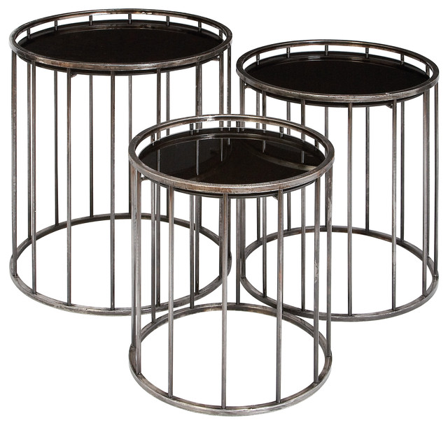 3 piece set metal tables with onyx glass mirrortops contemporary coffee table sets by abc. Black Bedroom Furniture Sets. Home Design Ideas