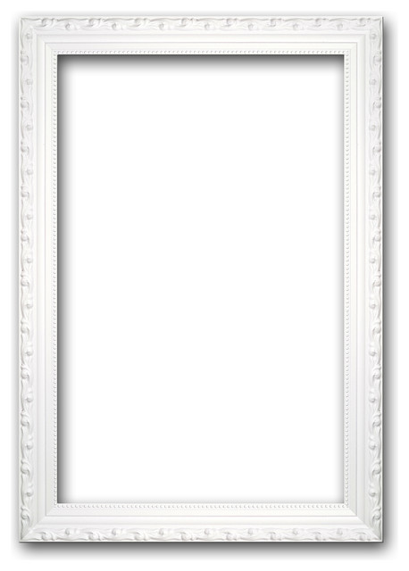 White Solid Wood Ornate Picture Frame - Traditional - Picture Frames ...
