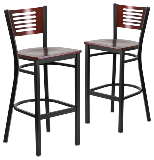 Astonishing Hercules Series Black Decorative Slat Back Metal Barstools Set Of 2 Squirreltailoven Fun Painted Chair Ideas Images Squirreltailovenorg