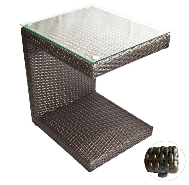 Outdoor Lounge Tables Zuma Wicker Side Table Contemporary - All weather wicker side table