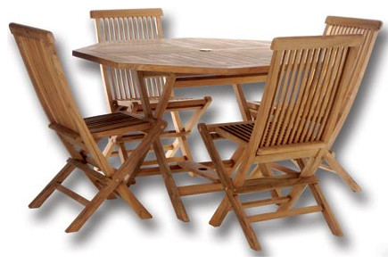 Teak Octagon Table Set Traditional Outdoor Dining Sets