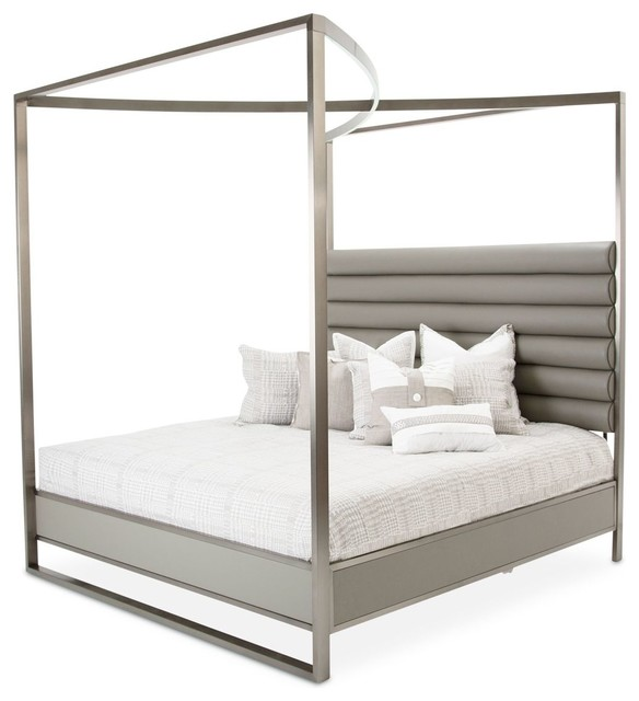 Metro Lights Metal Bed With Canopy, King In Midnight.