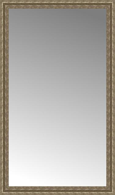 """35""""x59"""" Custom Framed Mirror, Distressed Silver"""