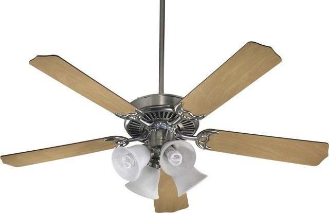 Four Light Satin Nickel Ceiling Fan.