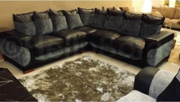 Serenity Leather Fabric Corner Sofa In Black N Grey