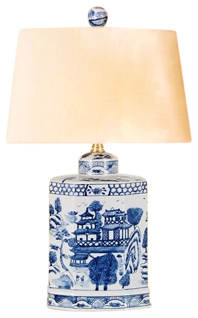 Vintage Style Blue And White Porcelain Willow Tea Caddy Table Lamp W Shade