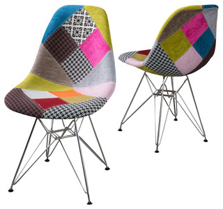 Cassius Multi Color Patchwork Fabric Chairs, Set Of 2   Eclectic    Armchairs And Accent Chairs   By GDFStudio