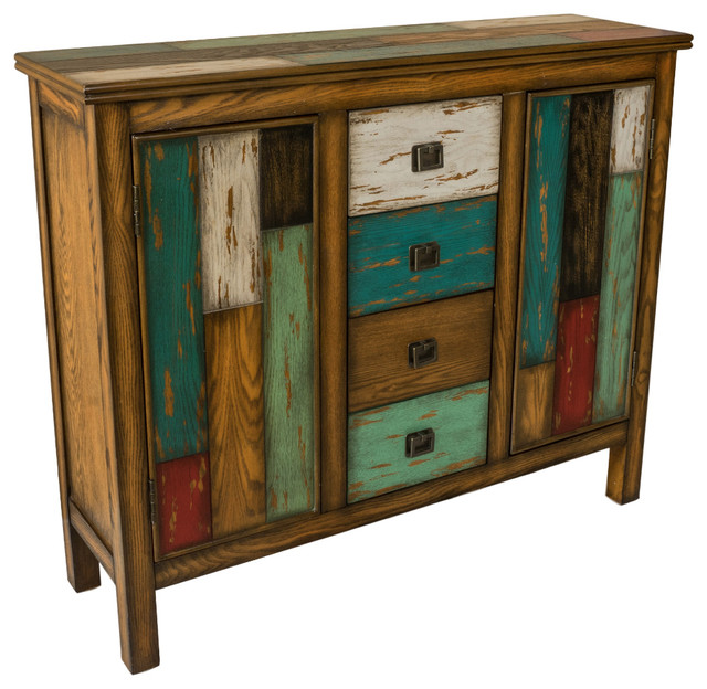 Delaney Antique Multicolor Distressed Wood Storage Cabinet - Delaney Antique Multicolor Distressed Wood Storage Cabinet