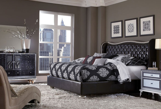 HOLLYWOOD SWANK STARRY NIGHT KING BED Contemporary Beds