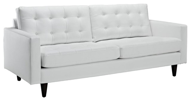 Empress Bonded Leather Sofa White By Modway.