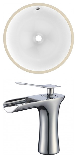 Round Undermount Sink Set With 1-Hole Cupc Faucet White, Chrome Hardware 15.25.