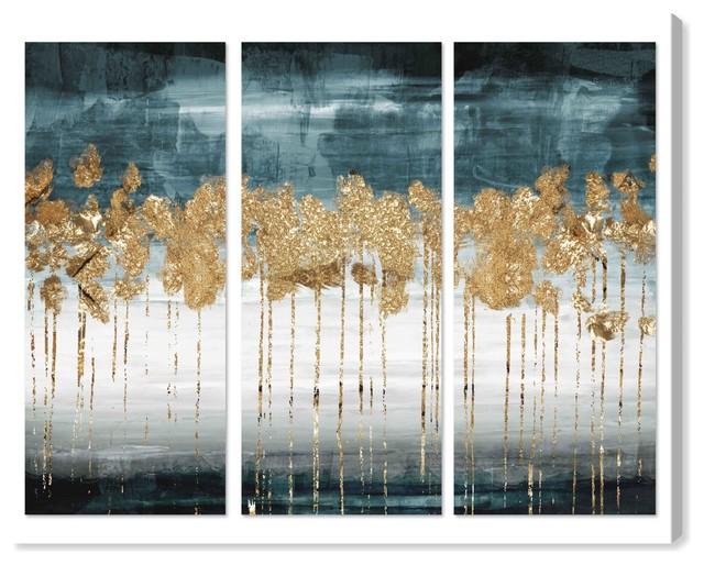 """Meadow Gold Triptych"" Canvas Art Print, 90x45 cm"